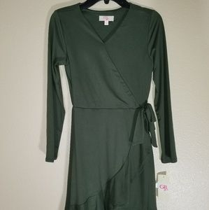 GB Girls Wrap Green Longsleeve Dress Size XL